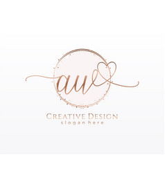 Initial aw handwriting logo with circle template vector