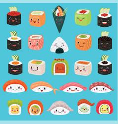 Kawaii food emoticon japanese sushi vector