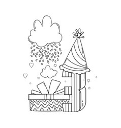 Kids birthday cartoons black and white vector