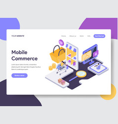 landing page template of mobile commerce concept vector image