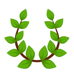 laurel wreath branch with leaves isolated ancient vector image