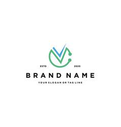 Letter c check logo design vector