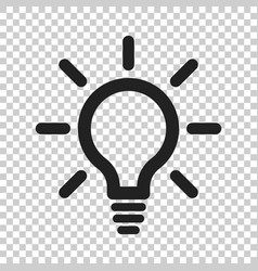 light bulb line icon electric lamp in flat style vector image