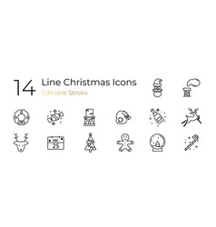 linear set holiday christmas icons vector image