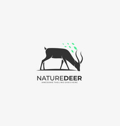 logo nature deer silhouette style vector image