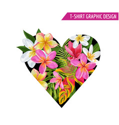 love romantic floral heart spring summer design vector image