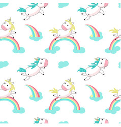magic unicorn with rainbow seamless pattern vector image
