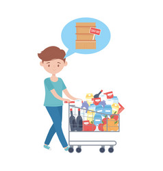 Man shopping with cart and products and shelf vector
