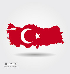map turkey and national flag symbols white vector image