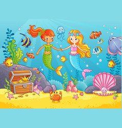 mermaids among the fishes hold hands vector image
