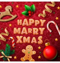 Merry Christmas greeting card with cookies vector image
