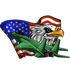 Military fighter jets with eagle and american flag vector