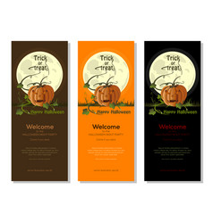 multicolored halloween banners set with jack o vector image