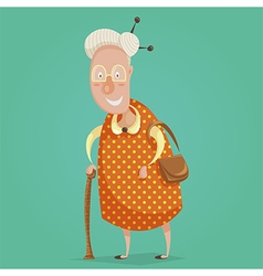 old woman cartoon character vector image vector image