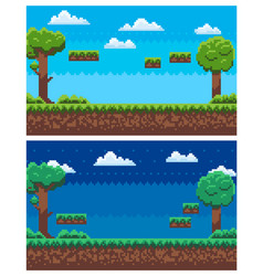 Pixel game scene day and night view panorama vector