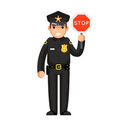 police officer stop sign policeman law justice cop vector image