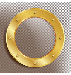 Porthole round golden window with rivets vector