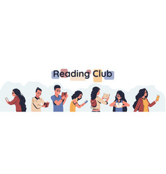 reading club poster men and women holding open vector image