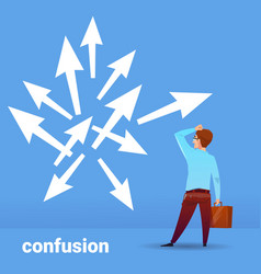 Rear view businessman thinking confusion business vector