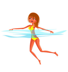 red-haired woman in yellow swimsuit swimming in vector image