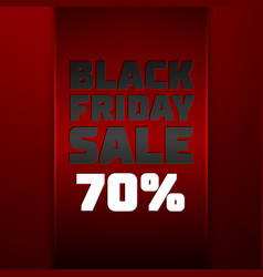 Red ribbon with black friday sale seventy percent vector