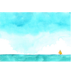 sailing boat on sea and blue sky watercolor vector image