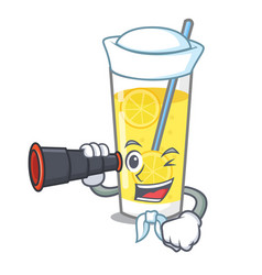 Sailor with binocular lemonade mascot cartoon vector