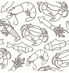 Seamless pattern in thin line style for seafood vector