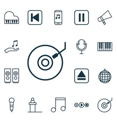 Set 16 music icons includes mike sound box vector