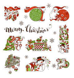 Set christmas decorations and design elements vector