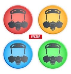 Set of colorful head gas mask signs vector image