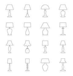 set of contours of lamps vector image