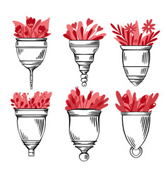 set sketch various menstrual cups with flat red vector image