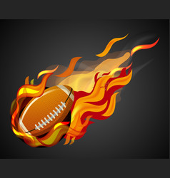 shooting football with flame on black background vector image