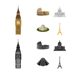 sights of different countries cartoonblack icons vector image