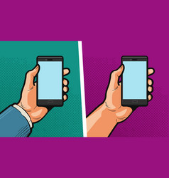 smartphone mobile phone in hand comics style vector image