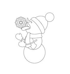 snowman coloring page vector image