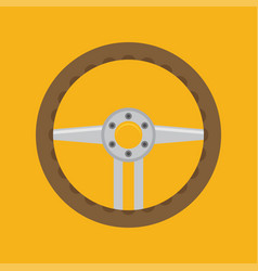 sports car steering wheel icon flat vector image