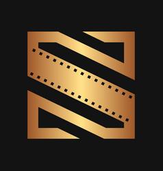 square initial movie logo concept vector image