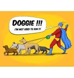 Superhero man and dogs comic book vector image