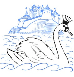 Swan in front of a palace vector image