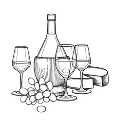 three watercolor glasses of wine bottle grapes vector image
