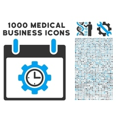 Time Gear Calendar Day Icon With 1000 Medical vector image