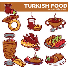 Turkish food cuisine dishes icons vector