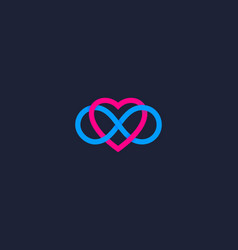 Two hearts and endless loop symbol logo infinity vector