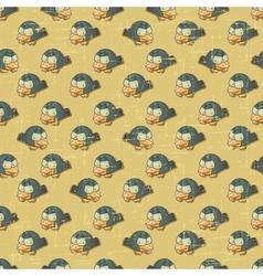 Vintage cartoon birds Pattern vector image