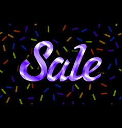 violet text sale lettering on black background vector image