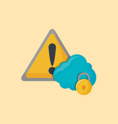 Warning sign and cloud vector