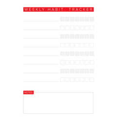 weekly habit tracker template vector image