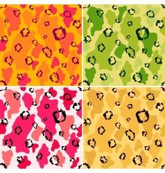 Wildlife animal spots seamless pattern set vector image vector image